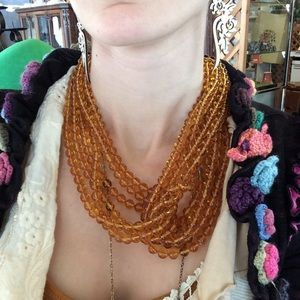 Vintage Jewelry - Amber Tone Glass Knot Interlocking C Necklace